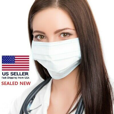10 Surgical Disposable Medical Face Mask 3-Layer SEALED White Dental - US SELLER