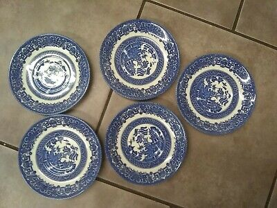 5 x English Ironstone England Old Willow Pattern saucers Alfred Meakin