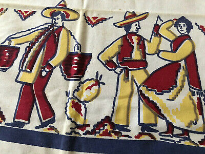 Vtg 50's Cotton 47x52 Tablecloth Mexican Dancers Pottery Cactus CUTTER