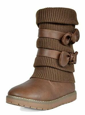 DREAM PAIRS Girl's Winter Snow Boots Faux Fur Lined Mid, Brown/Klove, Size 4.0 7