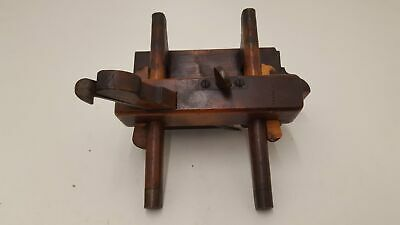 Beautiful Vintage Moseley Wooden Plough Plane w Spare Blades 25729