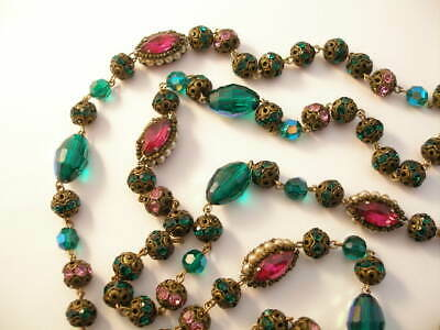 "ART DECO RETRO FUSHIA RHINESTONE & GREEN CRYSTAL 57"" NECKLACE Circa 1930's"