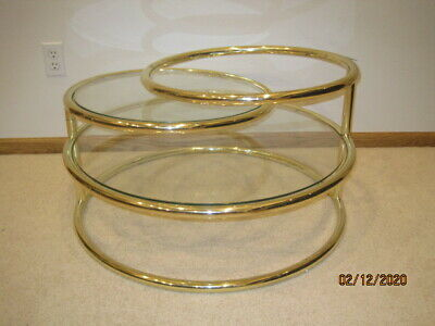 Mid Century Modern 3 Tiered Swivel Brass Table Glass Shelves Milo Baughman Style
