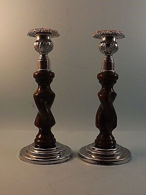 Pair Of Art Deco Wood And Chrome Candlesticks