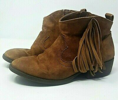 JUSTICE ~ Girls Faux Suede Fringe Ankle Boot / Bootie ~ Brown ~ Youth size 6