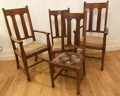 Antique Oak Arts & Crafts Registered Design Dining Chairs (Dated 1904)