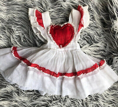 Vintage Baby Girl Pinafore Dress Baby Debs Red Heart 12 Months White Embroidered