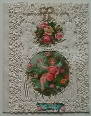 Lovely1860s Antique,Paper lace Victorian Valentine Card.Flowers/Angel 10.5x7.5cm
