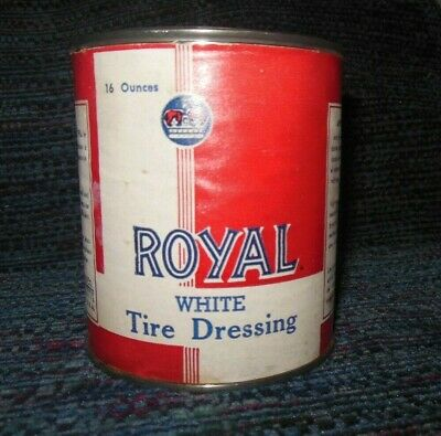 Vintage ROYAL White Tire Dressing Can 16 Oz Full Unused Old Paper Label Nice!