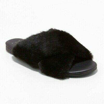 Details about  /Womens A New Day for Target Frannie Cross Strap Faux Fur Sandals NWOB E18