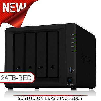 NEW! Synology DiskStation DS418PLAY 24TB (4 x 6TB WD RED) 4 Bay NAS Unit Black
