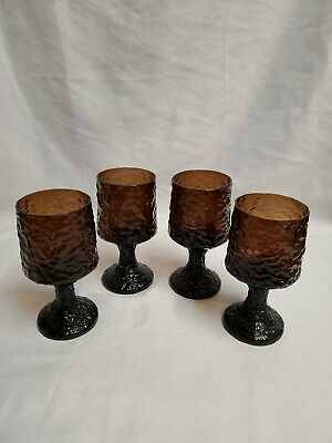 4 Lenox Crystal Impromptu Hand Blown Wine Cordial Glasses Rare Brown USA MCM