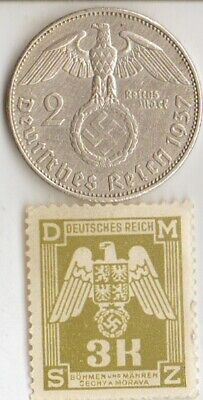 "#-1-US)-*free WW2- *german"" PW""-Solder card in USA camp+stamp+king ""TUT"" coin"