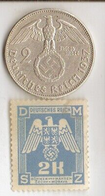 """#-4)-*antique- *WWII-*german SILVER EAGLE  coin/stamp +*egyp.""""king TUT"""" coin"""