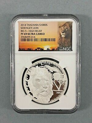 2014 1000S Tanzania Serengeti Lion Big 5 High Relief Ngc Pf 69 Ultra Cameo Coin
