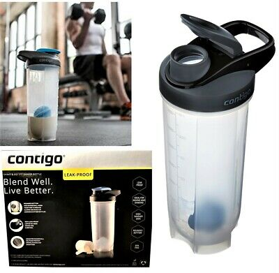 CONTIGO Shake & Go Fit Snap Lid Shaker Bottle, 28 Ounces, Black Snap Lid. NEW