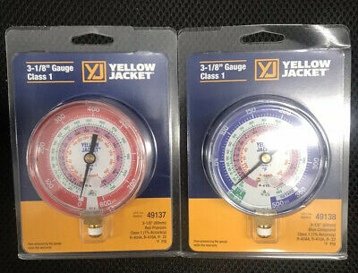 """no manifold Yellow Jacket 49138 /& 49137 3-1//8/"""" R404a//R410a//R22 Gauge Combo"""