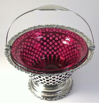 Antique hallmarked Sterling Silver Sugar Basket & Cranberry Liner – 1907 (520g)