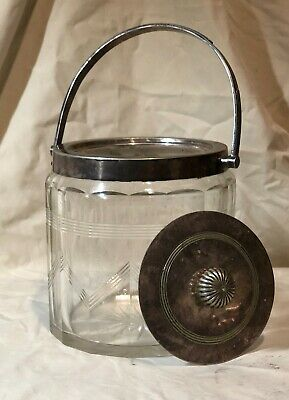 c1930's Art Deco Etched Glass & Sterling Silver Biscuit Barrel