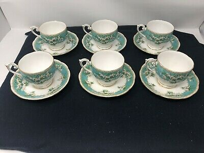 Vintage Queen Anne Bone China Fluted Tea Cups with saucers Marilyn Pattern set o