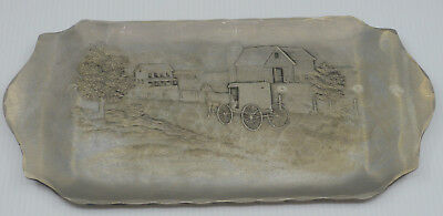 Vintage Wendell August Forge Hand Hammered Aluminum Tray, Amish Farm Scene