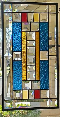 Agua Blue& Amber, Beveled Stained Glass Window Panel, Hanging,Transom,