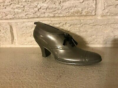 Original Antique Lady's Shoe Silvered Lead Germany C1920 Still Bank
