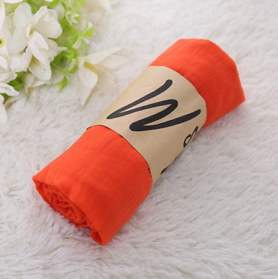 Fashion Hot Orange Red Style Ladies Womens Scarves Long Soft Cotton Scarf Wraps