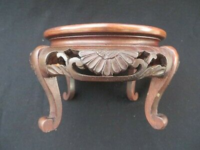 """Antique Chinese Wooden Finely Carved Base Stand 7"""" Diameter"""