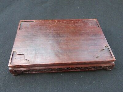 """Vintage Chinese Wooden Finely Carved rectangular Base Stand 5.625"""" wide"""