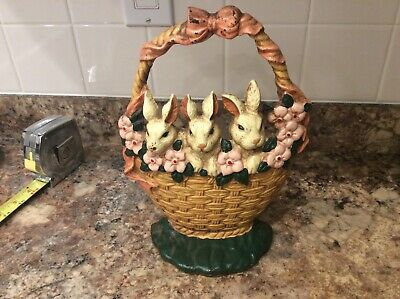 Vintage Cast Iron Door Stop Easter Basket With Rabbits Flowers  all a Original