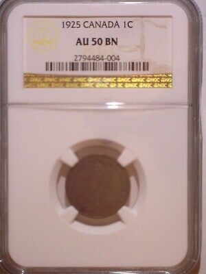 1925 NGC AU50BN Canada Small One cent - Clean Holder - Penny - 1C: 1.00M Mintage