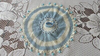 Milk Jug Cover Vintage Hand Made Crochet Cotton With Blue Beads Cup in centre