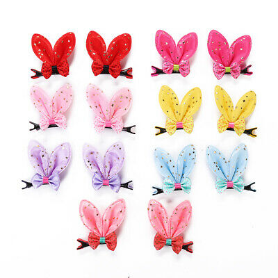 2pcs/set Baby Hair Clips Cute Girl Rabbit Ear Barrettes Hair Accessories