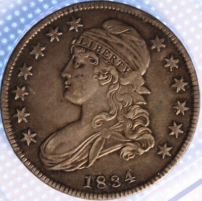 1834 Capped Bust Half Dollar, Small Date, Small Letters, Original Olde Patina!