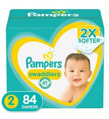 Pampers Swaddlers Diapers Size 2r 84 Count - Disposable Baby 2x Soft Super Pack