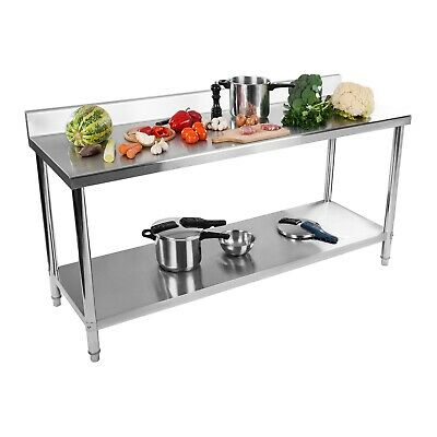 Stainless Steel Table Gastronomical Working Table Kitchen Table 180X60 Upstand