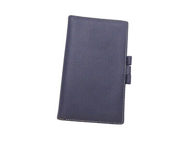 Auth HERMES Square D (2000) Note/Agenda Cover Navy Blue Leather - e44071