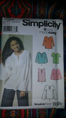 LADIES SIMPLICITY #7764 PULLOVER TUNIC or TOP PATTERN  XS-MED  FF 6 STYLE