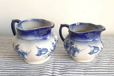 Vintage Jugs 2 Blue White Floral Design Small & Large Shabby Chic Country Style
