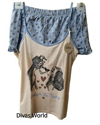 Disney Lady & The Tramp Cami Pyjamas Ladies Girls Vest Top Shorts PJ Set Primark