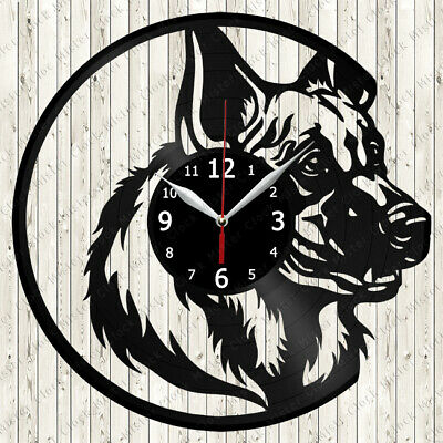 German Shepherd Dogs Vinyl Record Wall Clock Decor Handmade 1125