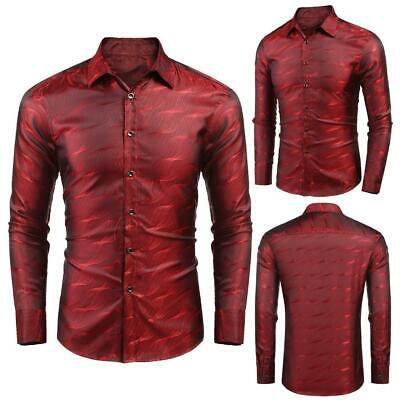 Men Fashion Turn Down Collar Long Sleeve Floral Shiny Glitter Shirt BRCE