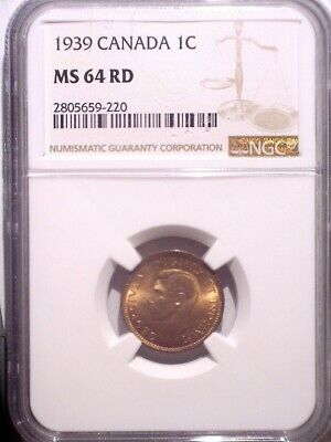 1939 NGC MS64RD Canada Small One cent - Clean Holder - Penny - 1C - RED!