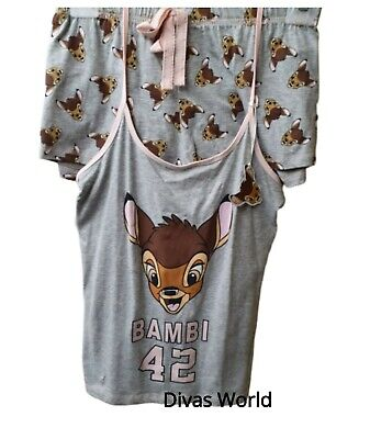 Disney Bambi Cami Vest Top & Shorts Pyjama Set Ladies Nightwear PJ Primark