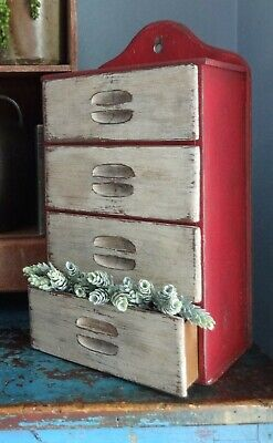 Antique 4 Drawer Spice Cabinet/Box/Cupboard/Chest/Primitive-Red Paint-Shaker