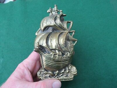 VINTAGE BRASS 16th CENTURY GALLEON SHIP DOOR KNOCKER