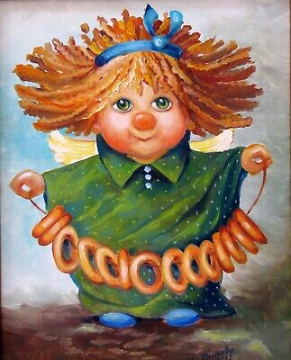 Angel with Bagels Hand Painted Original Portrait Oil Painting Children-Art Gift