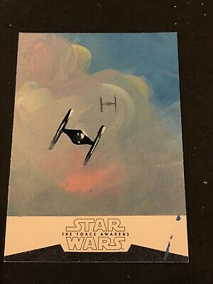 Topps Star Wars 1/1 Sketch Card Tie Fighter Clouds Ingrid Hardy Sp 2016
