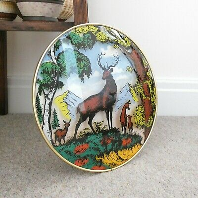 Vtg Domed Bubble Convex Glass Framed Wall Picture Kitsch Stag Deer Fawn Retro